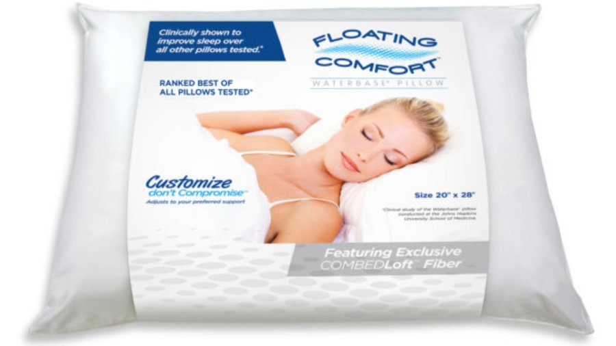 water filled pillow, waterbase pillow, floating comfort pillow